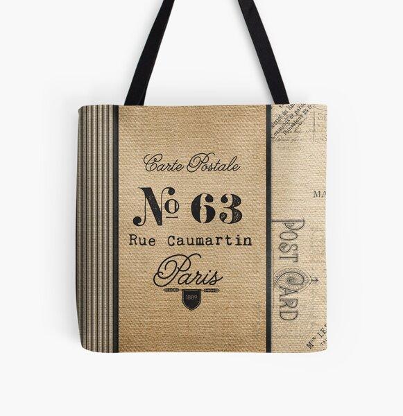 Vintage Burlap Ticker Look Paris france All Over Print Tote Bag