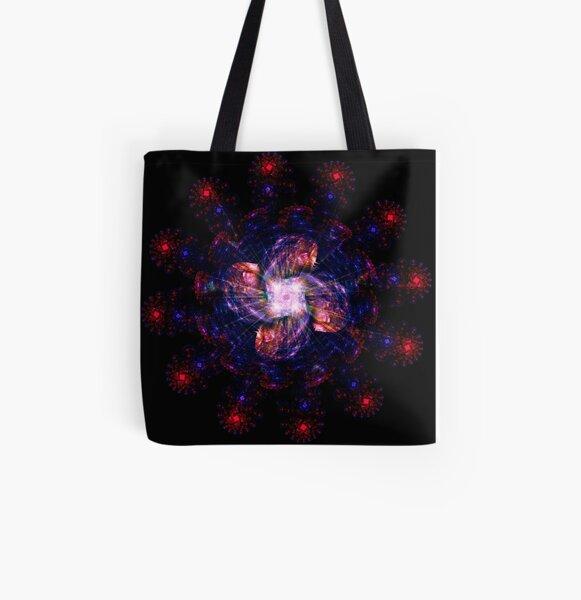 Atomic Headdress of The Sun ~ Fractal Art All Over Print Tote Bag