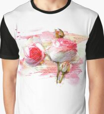 Pink colored roses, Watercolor, splash Graphic T-Shirt