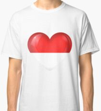 I Love Indonesia Flag Large Heart  Classic T-Shirt