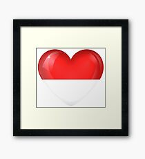 I Love Indonesia Flag Large Heart  Framed Print