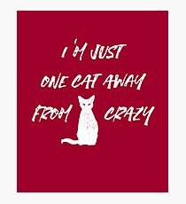 Funny: I'm just one cat away from driving crazy Photographic Print