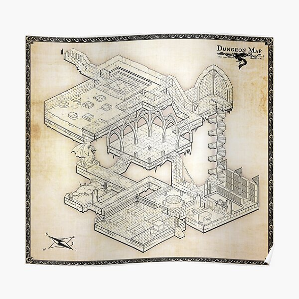 Isometric Dungeon Map Poster
