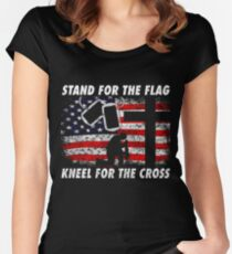 Stand For The Flag, Kneel For The Cross  Women's Fitted Scoop T-Shirt