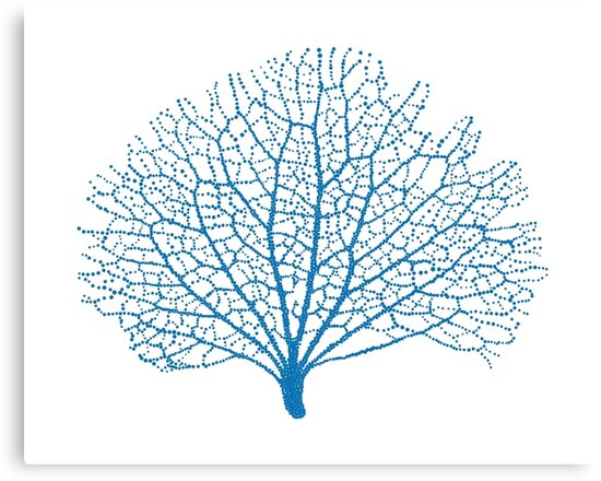 Quot Blue Sea Fan Coral Silhouette Quot Canvas Prints By Beakraus