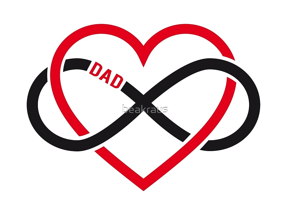 Dad Red Heart With Infinity Sign Fathers Day Card Sticker By