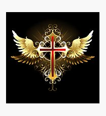 Cross with Golden Wings Photographic Print