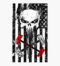 Skull Red Barbell Photographic Print