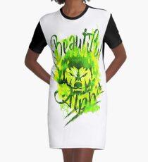 Beautiful Alpha Bad Boy/Girl Green Graphic T-Shirt Dress