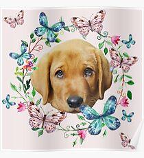 Cute Puppy Butterflies Floral Wreath Poster
