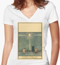 The brightest star and three wise men 042 Women's Fitted V-Neck T-Shirt