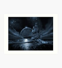 Ghost ship series: Full moon rising Art Print