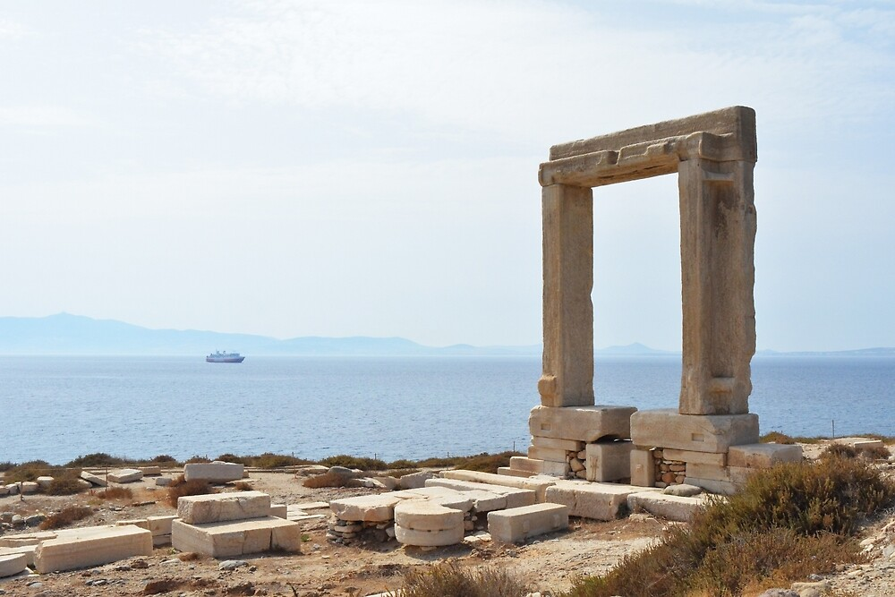 The remains of the Temple of Apollo on Naxos, Greece. The monumental entrance overlooking the town of Naxos, dating from 530BC by oanaunciuleanu