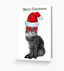 Fashionista Christmas Cat Greeting Card