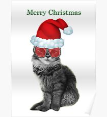 Fashionista Christmas Cat Poster