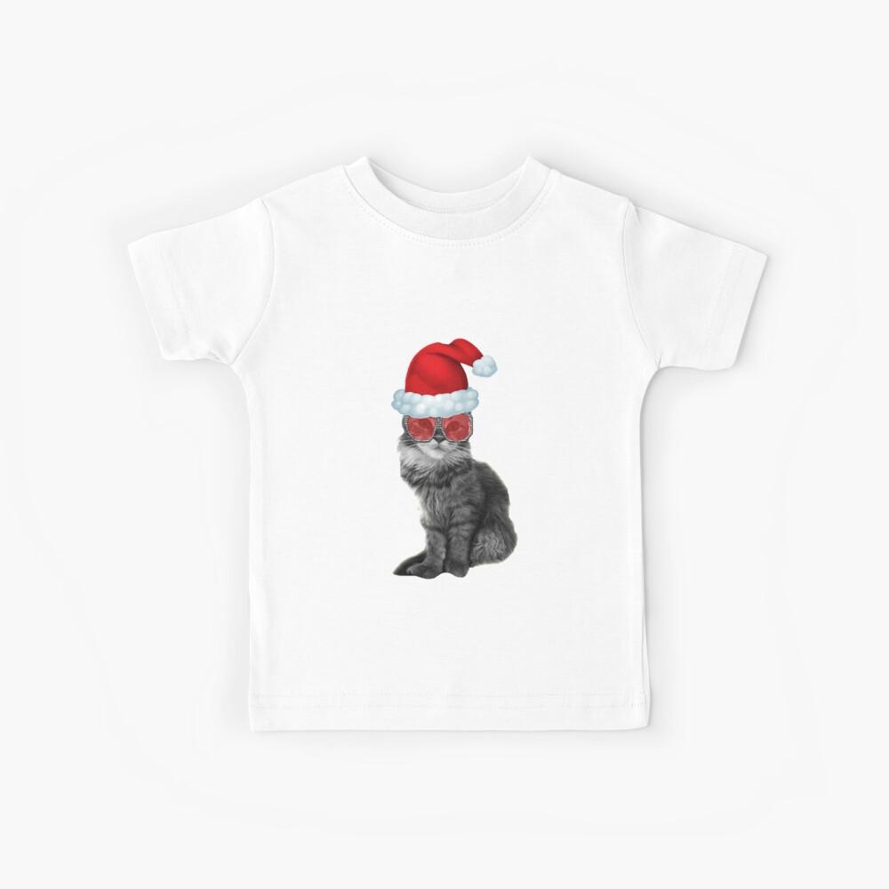Fashionista Christmas Cat Camiseta para niños