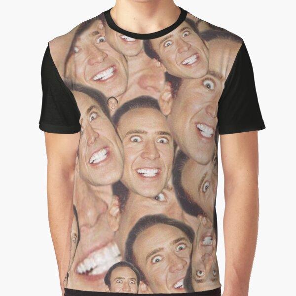 Nicolas Cage Face Collage Design Graphic T-Shirt