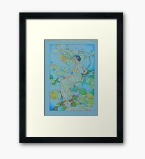 Antique victorian illustration from 1902, dream of roses in blue! Framed Print