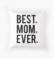 Best mom ever, word art, text design with red hearts  Throw Pillow