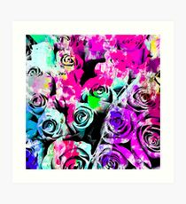 rose texture with pink purple blue green painting abstract background Art Print