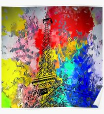 Eiffel Tower at Paris hotel and casino, Las Vegas, USA,with red blue yellow painting abstract background Poster