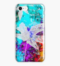 maple leaf with blue purple pink yellow painting abstract background iPhone Case/Skin