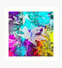 maple leaf with blue purple pink yellow painting abstract background Art Print