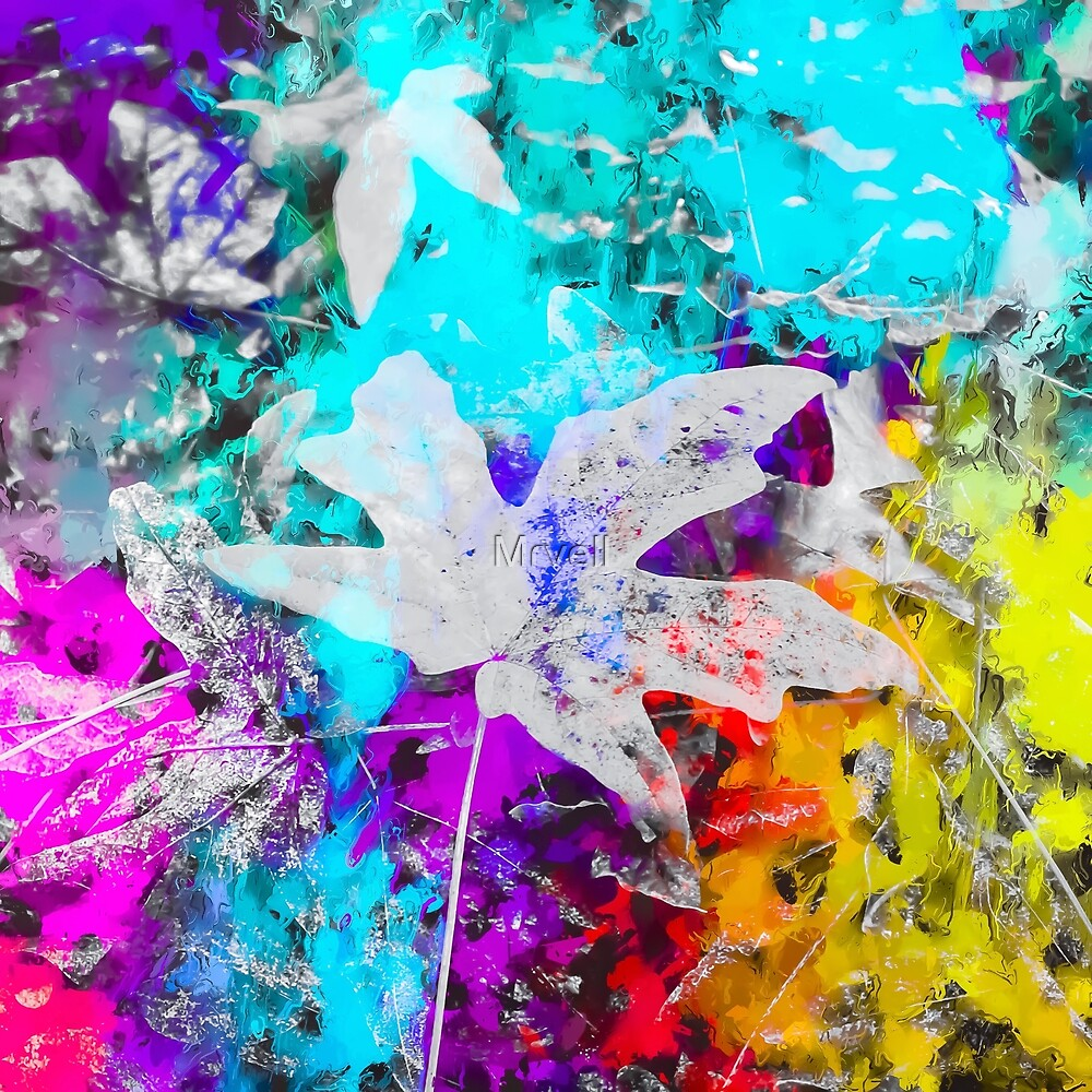 maple leaf with blue purple pink yellow painting abstract background by Mrvell