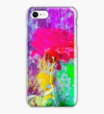 red rose with pink purple blue green yellow painting abstract background iPhone Case/Skin