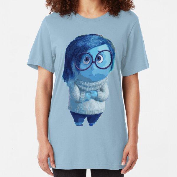 Blue emotion character illustration Slim Fit T-Shirt