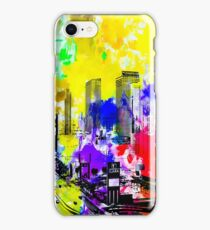 building of the hotel and casino at Las Vegas, USA with blue yellow red green purple painting abstract background iPhone Case/Skin