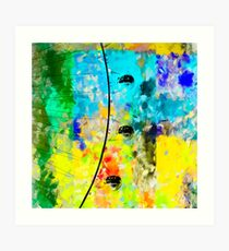 ferris wheel with blue yellow green painting texture abstract background Art Print