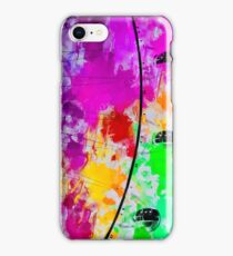 ferris wheel with pink blue green red yellow painting abstract background iPhone Case/Skin