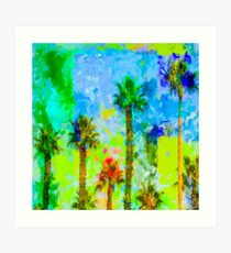 green palm tree with blue yellow green painting abstract background Art Print