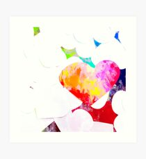 heart shape pattern with red pink blue yellow orange painting abstract background Art Print