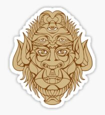 Five-eyed Monster Head Drawing Sticker