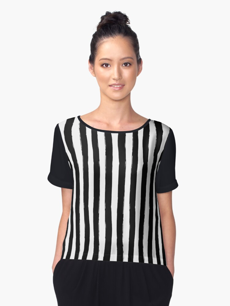 Preppy Black and White Cabana Stripes Women's Chiffon Top Front