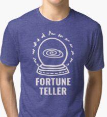 FORTUNE TELLER // CRYSTAL BALL // White on Black Tri-blend T-Shirt