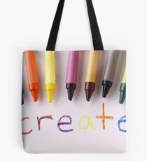 "Colorful crayons and the word ""create"" Tote Bag"