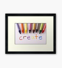 """Colorful crayons and the word """"create"""" Framed Print"""