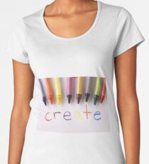 "Colorful crayons and the word ""create"" Women's Premium T-Shirt"