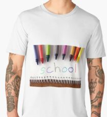 "Colorful crayons and the word ""school"" Men's Premium T-Shirt"