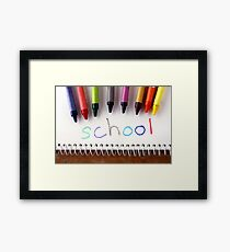 """Colorful crayons and the word """"school"""" Framed Print"""
