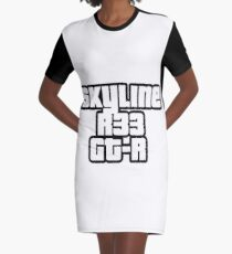 Skyline R33 GT-R Graphic T-Shirt Dress