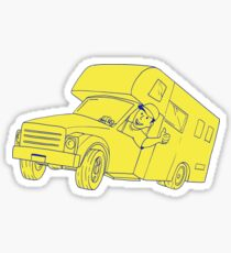 Driver Thumbs Up Camper Van Cartoon Sticker