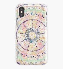Whimsical watercolor tribal doddles mandala iPhone Case/Skin