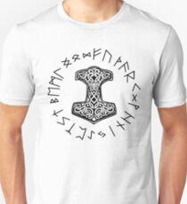 Viking Mjolnir and Rune Wheel Nordic T-Shirt