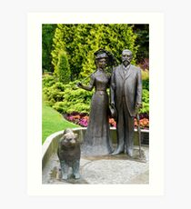 Statue of George Armitstead Former Mayor of Riga, with wife and dog at the National Opera Gardens, Riga, Latvia  Art Print