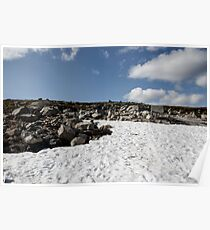 snow glade in the stone tundra norway,trolls, sky with clouds Poster