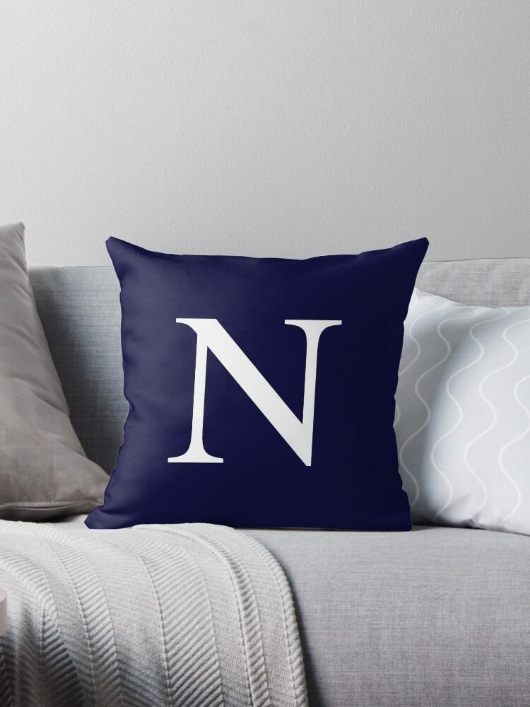 Navy Blue Basic Monogram N by rewstudio